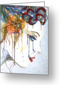Geisha Greeting Cards - Geisha Soul watercolor painting Greeting Card by Georgeta  Blanaru