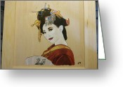 Paint Pyrography Greeting Cards - Geisha White Ivory Framed Pyrographic Original Wood Panel by Pigatopia Greeting Card by Shannon Ivins