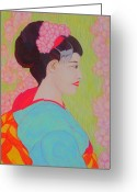 Cherry Drawings Greeting Cards - Geisha with Cherry Blossoms Greeting Card by Beth Akerman