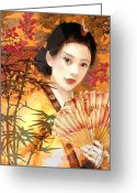 Geisha Greeting Cards - Geisha with Fan Greeting Card by Mo T