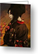 Geisha Greeting Cards - Geisha with Quince - revised Greeting Card by Jeff Burgess