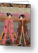 Wall Quilt Tapestries - Textiles Greeting Cards - Geishas in Rose Greeting Card by Roberta Baker