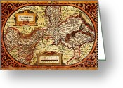 Old Map Drawings Greeting Cards - Geldria Ducatus Map Greeting Card by Pg Reproductions