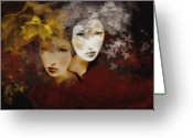 Brushes Greeting Cards - Gemini Greeting Card by Maria Szollosi