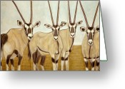 African Animals Greeting Cards - Gemsboks or 0ryxs Triptych Greeting Card by Isabelle Ehly