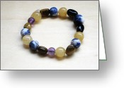 Tiger Jewelry Greeting Cards - Gemstone Bracelet Greeting Card by Susan OHiggins