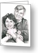 Celebrities Drawings Greeting Cards - Gene and Majel Roddenberry Greeting Card by Murphy Elliott