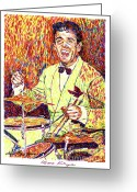 Featured Artist Painting Greeting Cards - Gene Krupa the Drummer Greeting Card by David Lloyd Glover