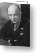 President Eisenhower Greeting Cards - General Dwight Eisenhower Greeting Card by War Is Hell Store