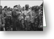 Day Photo Greeting Cards - General Eisenhower on D-Day  Greeting Card by War Is Hell Store