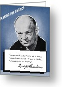 President Eisenhower Greeting Cards - General Eisenhower Speaking For America Greeting Card by War Is Hell Store