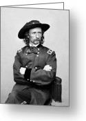 American Generals Greeting Cards - General George Armstrong Custer Greeting Card by War Is Hell Store