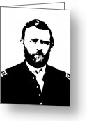 Civil Greeting Cards - General Grant Black and White  Greeting Card by War Is Hell Store