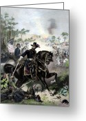 Civil Painting Greeting Cards - General Grant During Battle Greeting Card by War Is Hell Store