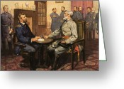 Flag Of The United States Greeting Cards - General Grant meets Robert E Lee  Greeting Card by English School