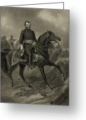Military Hero Drawings Greeting Cards - General Grant On Horseback  Greeting Card by War Is Hell Store