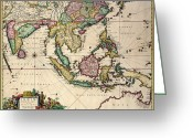 Border Drawings Greeting Cards - General map extending from India and Ceylon to northwestern Australia by way of southern Japan Greeting Card by Nicolaes Visscher Claes Jansz