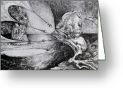 Otto Rapp Drawings Greeting Cards - General Peckerwood In Purgatory Greeting Card by Otto Rapp