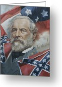 War Art Greeting Cards - General Robert E Lee Greeting Card by Linda Eades Blackburn