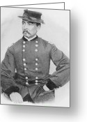 Cavalry Greeting Cards - General Sheridan Civil War Portrait Greeting Card by War Is Hell Store