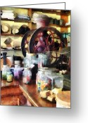 Grinders Greeting Cards - General Store With Candy Jars Greeting Card by Susan Savad