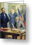 Confederates Greeting Cards - General Ulysses Grant accepting the surrender of General Lee at Appomattox  Greeting Card by Severino Baraldi