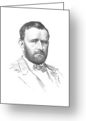 Military Hero Drawings Greeting Cards - General Ulysses Grant Greeting Card by War Is Hell Store
