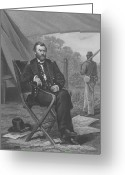 Military Hero Drawings Greeting Cards - General U.S. Grant Greeting Card by War Is Hell Store