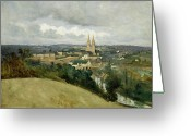 1796 Greeting Cards - General View of the Town of Saint Lo Greeting Card by Jean Corot