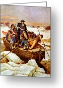 Us Patriot Greeting Cards - General Washington Crossing The Delaware River Greeting Card by War Is Hell Store
