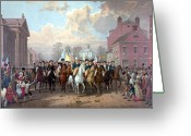 Military Hero Drawings Greeting Cards - General Washington Enters New York Greeting Card by War Is Hell Store