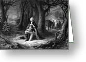Military Hero Drawings Greeting Cards - General Washington Praying At Valley Forge Greeting Card by War Is Hell Store