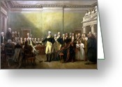 President Painting Greeting Cards - General Washington Resigning His Commission Greeting Card by War Is Hell Store