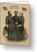 General Jackson Greeting Cards - Generals Jackson Beauregard and Lee Greeting Card by War Is Hell Store