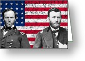 The War Between The States Greeting Cards - Generals Sherman and Grant  Greeting Card by War Is Hell Store