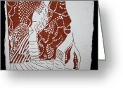 Africa Tiles Ceramics Greeting Cards - Generations - tile Greeting Card by Gloria Ssali