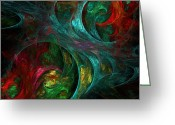 Abstract   Framed Prints Greeting Cards - Genesis Greeting Card by Oni H