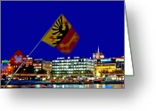 City Centre Greeting Cards - Geneva Switzerland in the Evening Greeting Card by Chris Smith