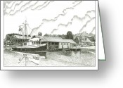 Bay Drawings Greeting Cards - Genius ready to fish Gig Harbor Greeting Card by Jack Pumphrey