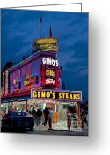 South Philly Greeting Cards - Genos Steaks Greeting Card by John Greim