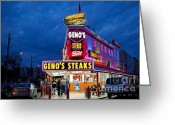 South Philly Greeting Cards - Genos Steaks South Philly Greeting Card by John Greim