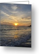 Gloaming Greeting Cards - Gentle Waves Greeting Card by T C Creations
