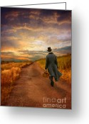 Attire Greeting Cards - Gentleman Walking on Rural Road Greeting Card by Jill Battaglia