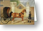 Coaching Greeting Cards - Gentlemens Carriages - A Cabriolet Greeting Card by Charles Hancock