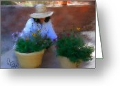 Garden Pots Greeting Cards - Gently Does It Greeting Card by Colleen Taylor