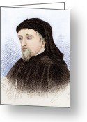 Canterbury Tales Greeting Cards - Geoffrey Chaucer, English Author Greeting Card by Sheila Terry