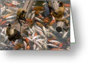 Henry Doorly Zoo Greeting Cards - Geoffreys Spider Monkeys With Koi Greeting Card by Joel Sartore