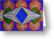 Collage On Wood Greeting Cards - Geometric - Mixed media 04 Greeting Card by Vincent Consiglio