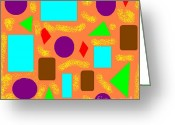 Jeanie Greeting Cards - Geometric Abstract- Orange Greeting Card by Jeannie Atwater Jordan Allen