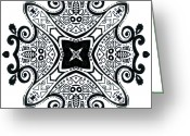Fractal Flower Drawings Greeting Cards - Geometric- Ink Mandala Greeting Card by Lindsay Kokoska